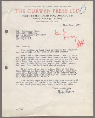 Related object: Letter; from Herbert Simon, Curwen Press to Harold Hutchison about printing of Sheila Robinson
