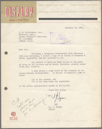 Related object: Letter; from A J Symes to Harold Hutchison about Francis Carr
