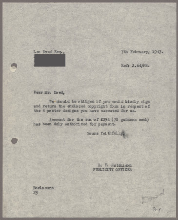 Related object: Letter; from Harold Hutchison to Leo Dowd, 7 Feb 1947
