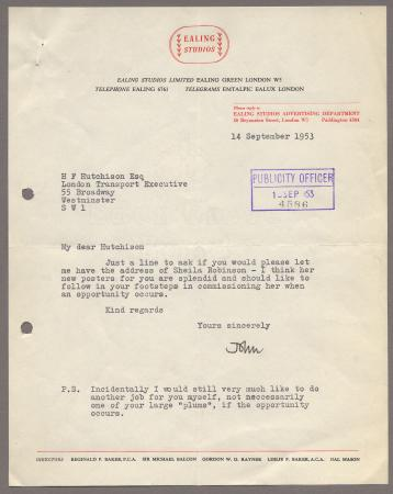 Related object: Letter; from John Woods, Ealing Studios to Harold Hutchison about Sheila Robinson, 14 September 1953