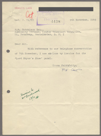 Related object: Letter; from Francis Carr to the Publicity Officer about payment for his Lord Mayor