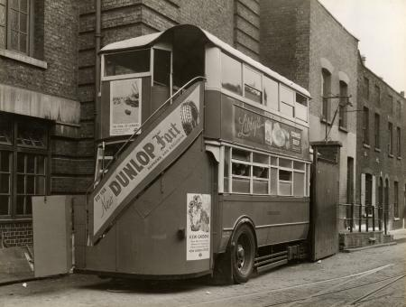 B/w print; exterior view of a mobile canteen at hackney depot by topical press, sep 1937