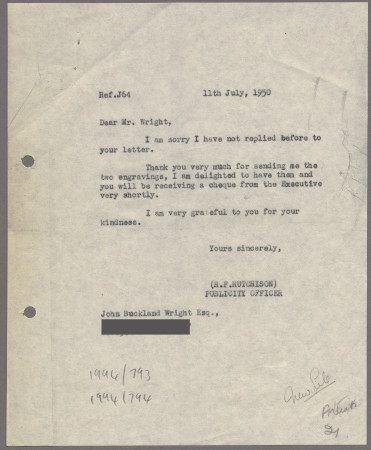 Related object: Letter; from Harold Hutchison to John Buckland Wright to about buying copies of his shelter wood engavings, 11 July 1950