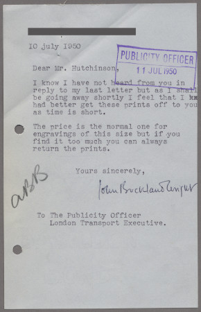 Related object: Letter; from John Buckland Wright to Harold Hutchison about selling copies of his shelter wood engavings, 10 July 1950