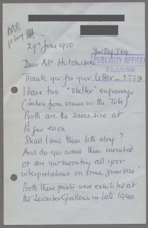 Related object: Letter; from John Buckland Wright to Harold Hutchison about selling copies of his shelter wood engavings, 29 June 1950