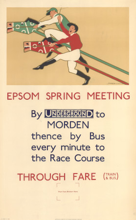 Poster; Epsom spring meeting, by F H Warren, 1929