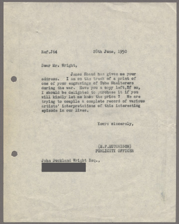 Related object: Letter; from Harold Hutchison to John Buckland Wright about acquiring copies of his shelter wood engavings, 28 June 1950