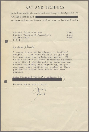 Related object: Letter; from James of Art and Technics to Harold Hutchison about London Transport acquiring copies of John Buckland Wright