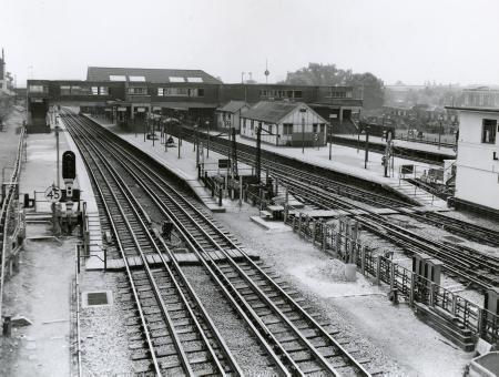 BW print; Wembley Park Underground station, Metropolitan and Bakerloo now Jubilee line by Fox Photos, 17 Oct 1943