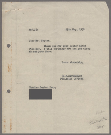 Related object: Letter; from Harold Hutchison to Charles Boyton about visiting his exhibition, 29 May 1950
