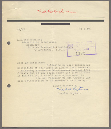 Related object: Letter; from Charles Boyton to Harold Hutchison enquiring about work, 25 May 1950