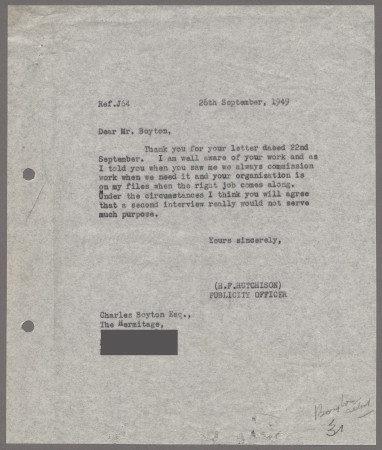 Related object: Letter; from Harold Hutchison to Charles Boyton about lack of work, 26 September 1949