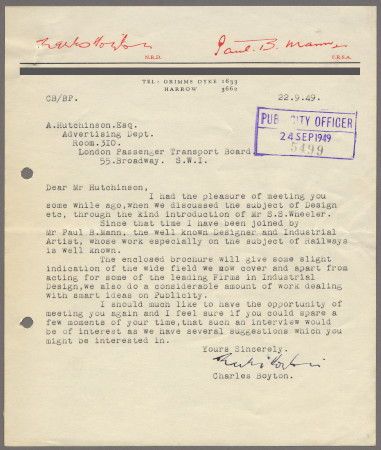Related object: Letter; from Charles Boyton to Harold Hutchison enquiring about work, 22 September 1949