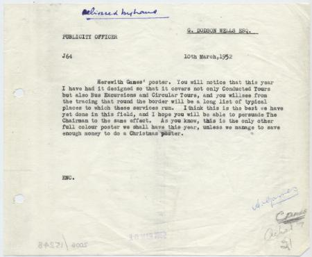 Related object: Letter; from Harold Hutchison to G Dodson Wells discussing Abram Games