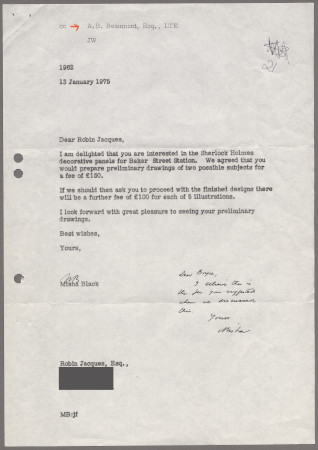Related object: Letter; from Misha Black to Robin Jacques about designing Sherlock Holmes panels for Baker Street station, 13 January 1975