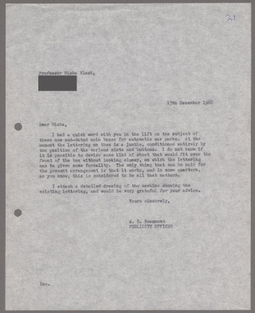 Related object: Letter; from Bryce Beaumont to Misha Black about car park ticket machines, 13 December 1968
