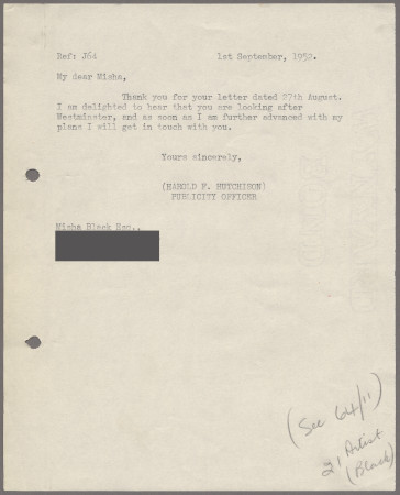 Related object: Letter; from Harold Hutchison to Misha Black, 1 September 1952