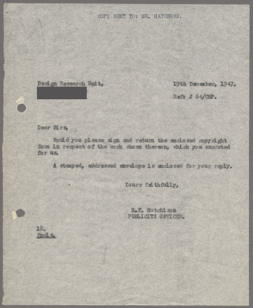 Related object: Letter; from Harold Hutchison to Misha Black requesting a signature on the copyright form, 19 December 1947