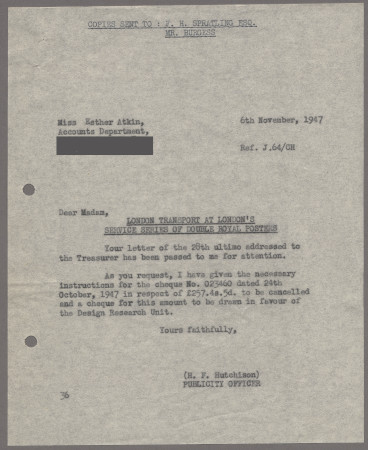 Related object: Letter; from Harold Hutchison to Accounts Department at Design Research Unit about payment for London