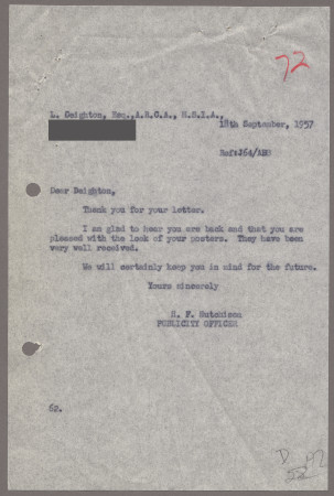 Related object: Letter; from Harold Hutchison to Len Deighton, 18 Sep 1957
