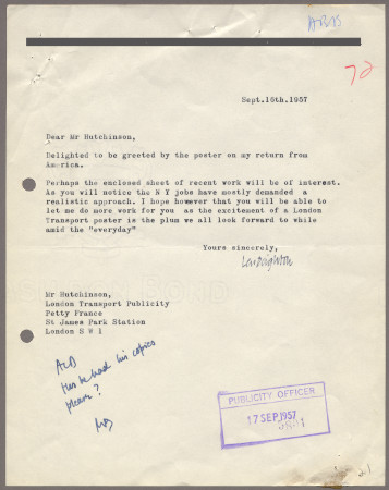 Related object: Letter; from Len Deighton to Harold Hutchison, 16 Sep 1957