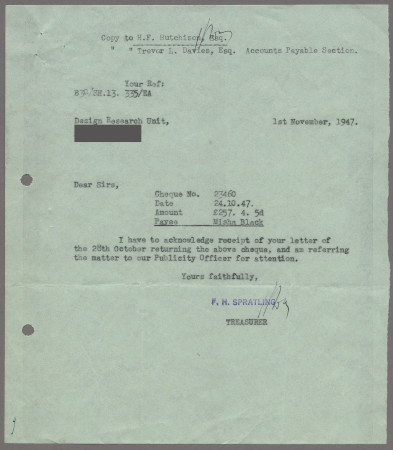 Related object: Letter; from the Treasurer, London Transport  to the Design Research Unit about payment for London