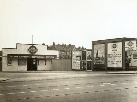Related object: b/w glass neg, View of temporary Underground station at Ealing Common by Topical Press, 20 May 1930