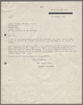 Related object: Letter; from the Design Research Unit to London Transport about payment for London