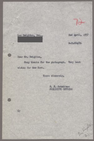Related object: Letter; from Harold Hutchison to Len Deighton, 2 Apr 1957