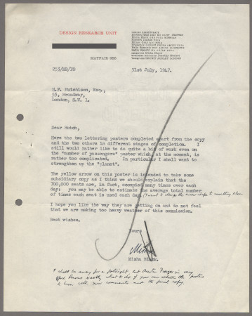 Related object: Letter; from Misha Black at Design Research Unit to Harold Hutchison about London Transport at London