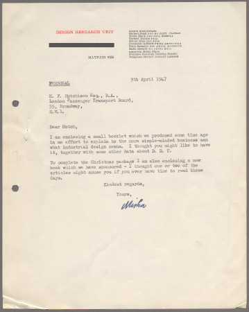 Related object: Letter; from Misha Black to Harold Hutchison about the Design Research Unit, 9 April 1947