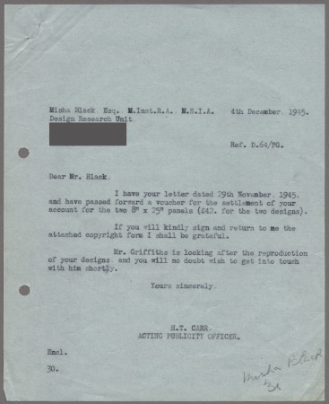 Related object: Letter, from H T Carr to Misha Black about payment for the two streamers and requesting a signature on the copyright form, 4 December 1945