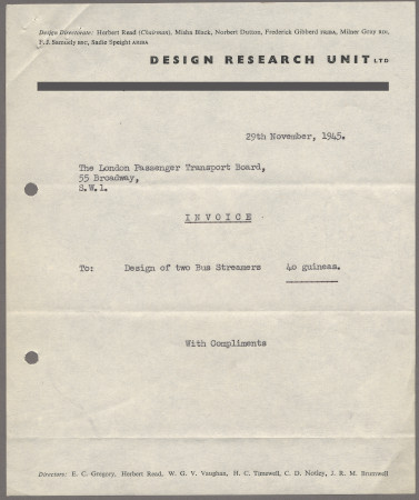 Related object: Invoice; from the Design Research Unit for two streamers designed by Misha Black, 29 November 1945