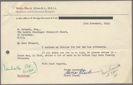 Related object: Letter; from Misha Black to W Patmore about an invoice for two streamers, 29 November 1945