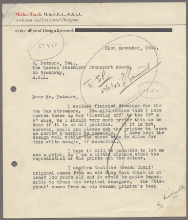 Related object: Letter; from Misha Black to W Patmore about designs and copyright for two streamers, 21 November 1945