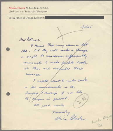 Related object: Letter; from Misha Black to W Patmore about designs, 11 October 1945