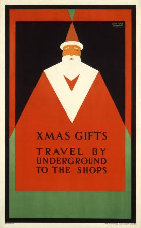 Poster; Xmas gifts travel by Underground to the shops, by F Gregory Brown, 1921