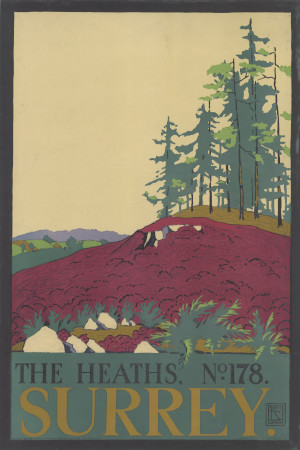 Poster; the heaths; no.178, surrey, by edward mcknight kauffer, 1916
