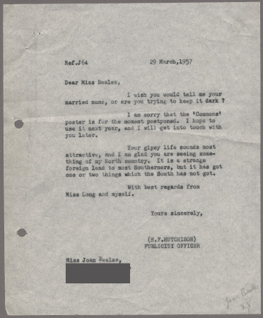 Related object: Letter; from Harold Hutchison to Joan Beales about the delay with the