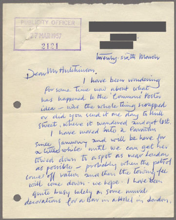 Related object: Letter; from Joan Beales to Harold Hutchison enquiring if the