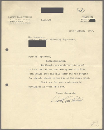 Related object: Letter; from Lovett Gill and Partners to Bryce Beaumont about his recommendation of Joan Beales, 12 February 1957