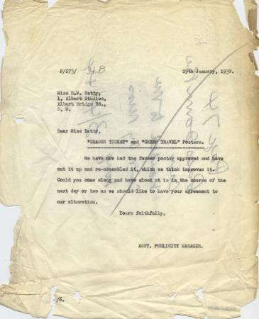 Related object: Letter; from the Assistant Publicity Manager to Dora Batty about alterations for designs for Season Ticket and Cheap travel posters, 29 January 1930