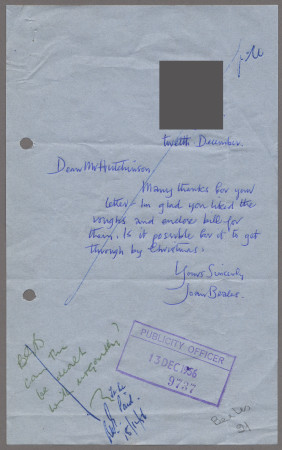 Related object: Letter; from Joan Beales to Harold Hutchison about poster, 11 December 1956