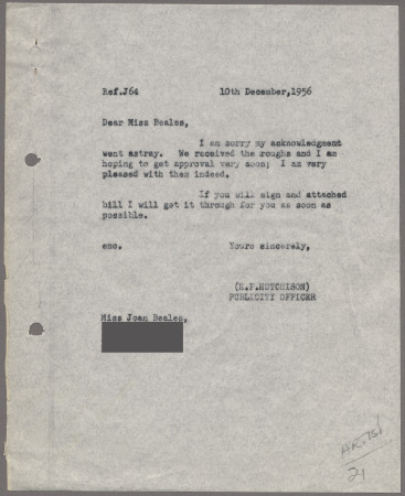 Related object: Letter; from Harold Hutchison to Joan Beales about poster, 10 December 1956