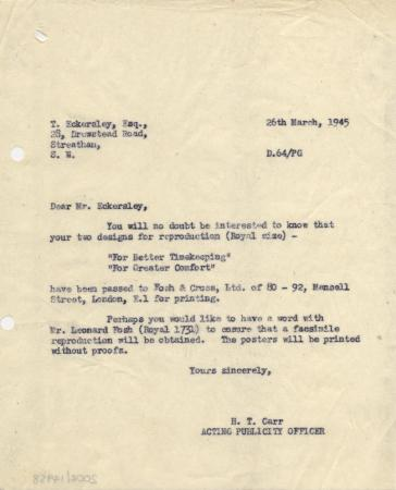 Related object: Letter; from H T Carr to Tom Eckersley re the printing of posters