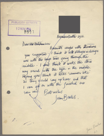 Related object: Letter; from Joan Beales to Harold Hutchison about poster, 10 November 1956