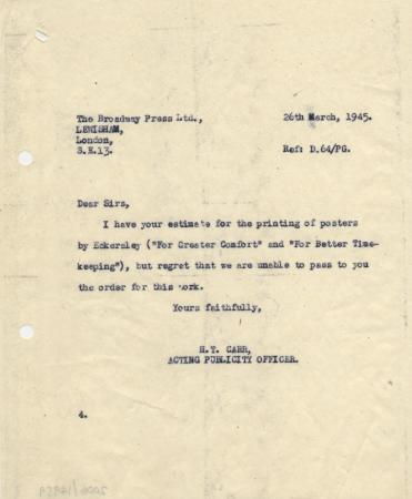 Related object: Letter; from H T Carr to the Broadway Press informing them that they have not secured the job of printing posters by Tom Eckersley, 26 March 1945
