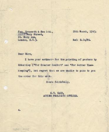 Related object: Letter; from H T Carr to Truscott and Son Ltd, informing them that they have not secured the job of printing the Tom Eckersley posters