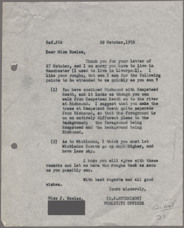 Related object: Letter; from Harold Hutchison to Joan Beales about poster, 29 October 1956