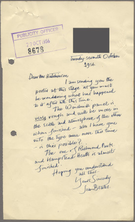 Related object: Letter; from Joan Beales to Harold Hutchison about poster, 27 October 1956